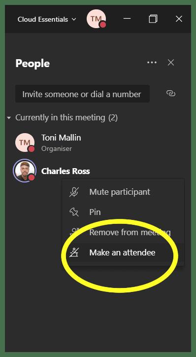 Make attendee in Microsoft Teams Mute Button