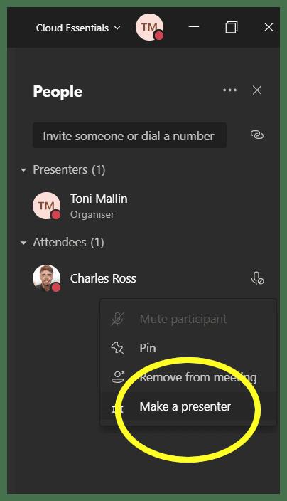 Make presenter in Microsoft Teams Mute Button