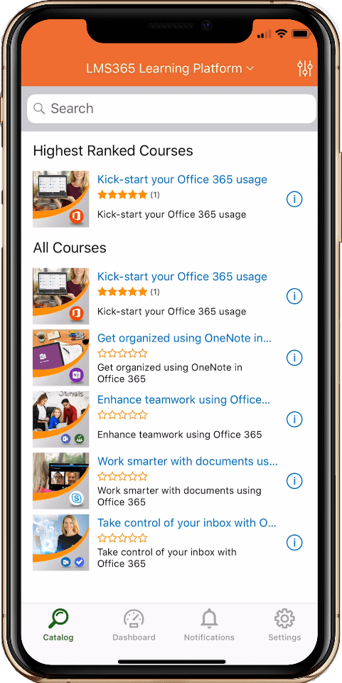 LMS365 mobile application to manage learning